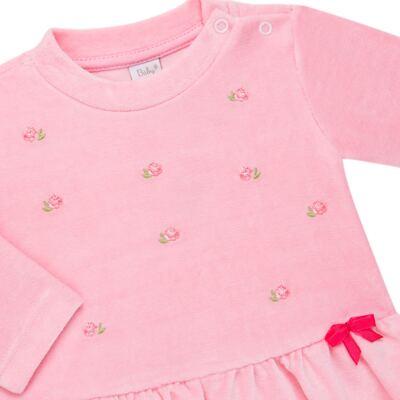 Imagem 3 do produto Bata com Calça para bebe em plush Little Roses - Baby Classic - 976881.218 CONJUNTO BATA COM CALÇA - PLUSH ROSA-P