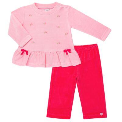 Imagem 1 do produto Bata com Calça para bebe em plush Little Roses - Baby Classic - 976881.218 CONJUNTO BATA COM CALÇA - PLUSH ROSA-G