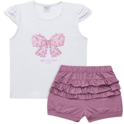 Imagem 1 do produto Blusinha com Shorts babadinhos para bebe em spandex Dolce Amore - Baby Classic - 18690001.20 BLUSINHA M/C COM SHORTS COTTON TRICOT-1
