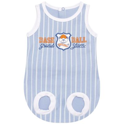 Imagem 1 do produto Banho de sol para bebe em suedine Baseball Cup - Vicky Lipe - 906767 BANHO DE SOL REGATA SUEDINE BASEBALL 2-GG