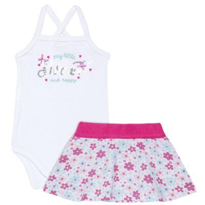 Imagem 1 do produto Body com Saia para bebe em malha Little Cute - Vicky Lipe - 23991362 BODY C/ SAIA MALHA ELEFANTINHO-G