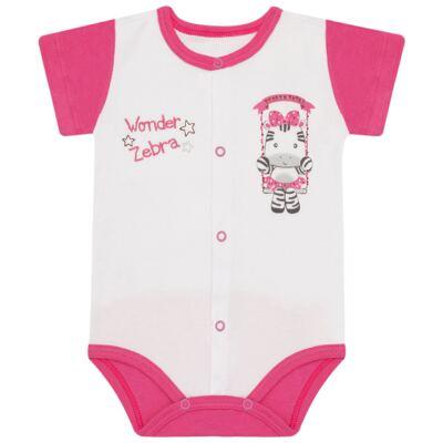 Imagem 1 do produto Body curto para bebe em suedine Zebrinha - Vicky Lipe - 937329 BODY MC COM ABERTURA SUEDINE ZEBRA-RN