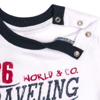 Imagem 4 do produto Blusão com Calça para bebe em moletom Traveling - Mini Mix - LTCM08 CONJUNTO MOLETOM TRAVELING BRANCO/MARINHO -G