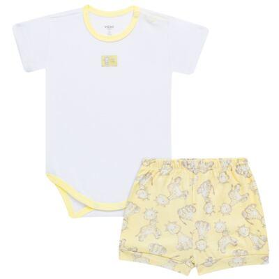 Imagem 1 do produto Body curto com Shorts para bebe em high comfort Girafinha - Vicky Baby - 1828-714 CJ. BODY C/SHORTS GIRAFA SUEDINE-GG