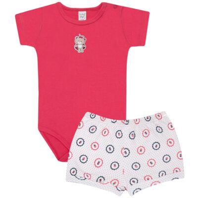 Imagem 1 do produto Body curto com Shorts para bebe em suedine Ladybug - Vicky Lipe - CSH562 CJ. BODY MC C SHORT SUEDINE URSA-G