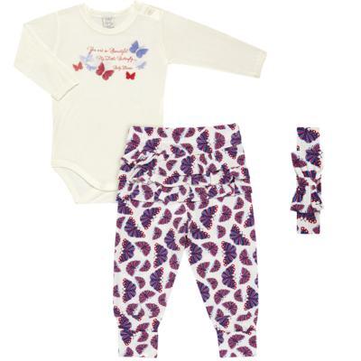 Imagem 1 do produto Body c/ Calça frufru e Faixa para bebe em viscolycra Butterflies - Baby Classic - 1621628 BODY COM MIJÃO COM FRU FRU VISCOLYCRA BUTTERFLY-RN