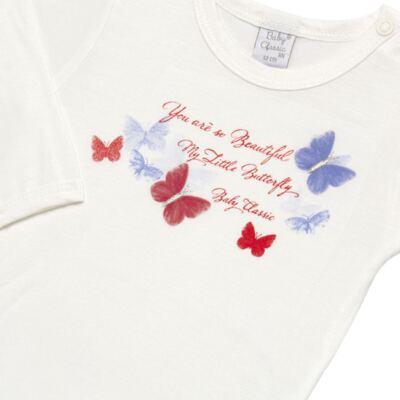 Imagem 3 do produto Body c/ Calça frufru e Faixa para bebe em viscolycra Butterflies - Baby Classic - 1621628 BODY COM MIJÃO COM FRU FRU VISCOLYCRA BUTTERFLY-RN