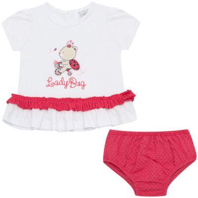 Imagem 1 do produto Bata com Calcinha para bebe em cotton Ladybug - Vicky Lipe - 831562 CONJUNTO BATA C/ CALCINHA COTTON URSA-GG