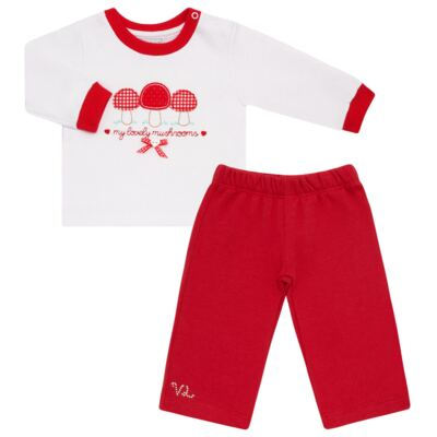 Imagem 1 do produto Blusa com Calça para bebe moletom Cogumelos - Vicky Lipe - 873274 BLUSÃO M/L C/ CALÇA MOLETON COGUMELO-P