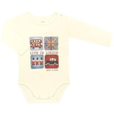 Imagem 1 do produto Body longo para bebe em algodão egípcio c/ jato de cerâmica e filtro solar fps 50 Little Guardians - Mini & Kids - BS1304 BODY LONGO SUEDINE LONDON BEAR-P