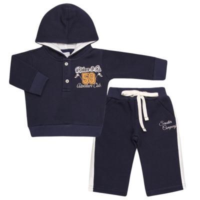Imagem 1 do produto Blusão com capuz e Calça em moletom Wharton - Baby Classic - 59175 CONJ.BLUSÃO C/CAPUZ MOLETON SCOOTER-3