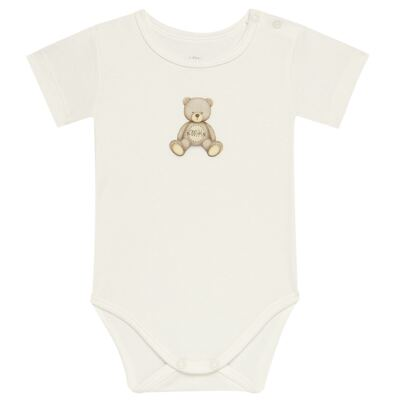 Body curto para bebe em Pima Cotton Supreme Prime Bear Marfim - Mini & Kids - BDMC0001.65 BODY MANGA CURTA - SUEDINE-G