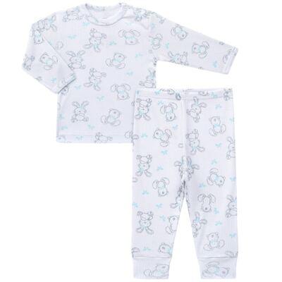 Imagem 1 do produto Blusa c/ Calça para bebe em algodão canelado Rabbit - Dedeka - DDK0860/E104 Conjunto Caneldo Estampado Coelho-1