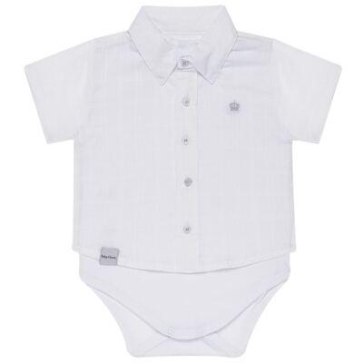 Imagem 1 do produto Body Camisa curto para bebe em tricoline Branco - Baby Classic - 02050001.09 BODY CAMISA - TRICOLINE-3
