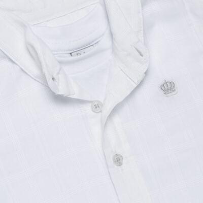 Imagem 2 do produto Body Camisa curto para bebe em tricoline Branco - Baby Classic - 02050001.09 BODY CAMISA - TRICOLINE-3