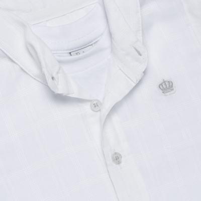 Imagem 2 do produto Body Camisa curto para bebe em tricoline Branco - Baby Classic - 02050001.09 BODY CAMISA - TRICOLINE-M