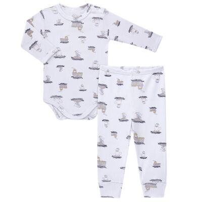 Imagem 1 do produto Body longo c/ Calça para bebe em algodão canelado Wally - Dedeka - DDK0890/E112 Conjunto de Body Canelado Estampado Morsa-RN