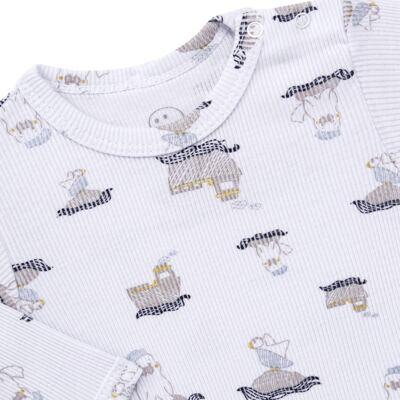 Imagem 3 do produto Body longo c/ Calça para bebe em algodão canelado Wally - Dedeka - DDK0890/E112 Conjunto de Body Canelado Estampado Morsa-GG