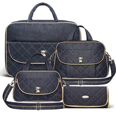 Imagem 1 do produto Mala Maternidade para bebe + Bolsa para viagem Astúrias + Frasqueira Térmica Galícia + Trocador Portátil Golden Denim - Classic for Baby Bags