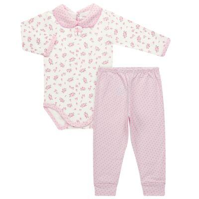 Imagem 1 do produto Body golinha c/ Calça para bebe em suedine Florzinhas - Dedeka - DDK17577/E166 CONJUNTO DE BODY SUEDINE FLORAL-GG