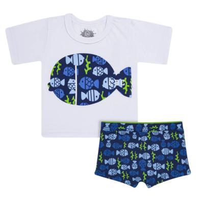 Imagem 1 do produto Conjunto de Banho Peixinhos: Camiseta + Sunga - Cara de Criança - KIT 1 2618: SB2618 + CCA2618 SUNGA E CAMISETA PEIXINHOS-1