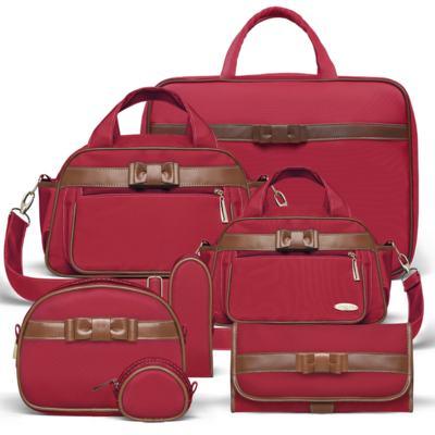 Imagem 1 do produto Kit Mala Maternidade para bebe + Bolsa Viagem Oxford + Térmica Kent + Kit Acessórios + Trocador Laço Caramel Vermelho - Classic for Baby Bags