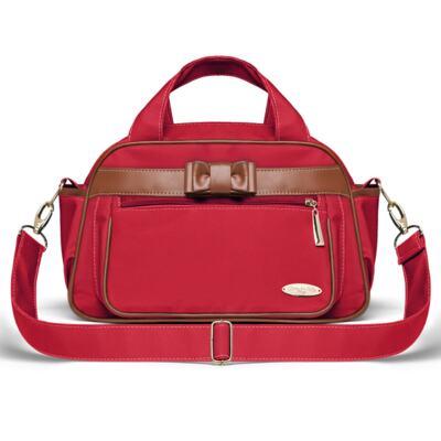 Imagem 3 do produto Kit Mala Maternidade para bebe + Bolsa Viagem Oxford + Térmica Kent + Kit Acessórios + Trocador Laço Caramel Vermelho - Classic for Baby Bags