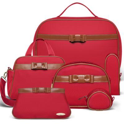 Imagem 1 do produto Kit Mala Maternidade para bebe + Frasqueira Térmica Cambridge +  Kit Acessórios + Necessaire Laço Caramel Vermelho - Classic for Baby Bags