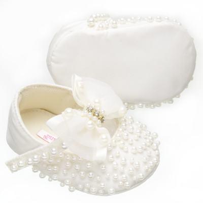 Imagem 3 do produto Sapatilha para bebe em cetim Pérolas & Laço Marfim - Roana - SPL00059031  Sapatilha Pérolas Laço Organza Marfim-M