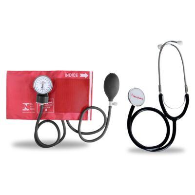 Imagem 1 do produto Kit Esteto Duplo com Aparelho de Pressão Vermelho Premium