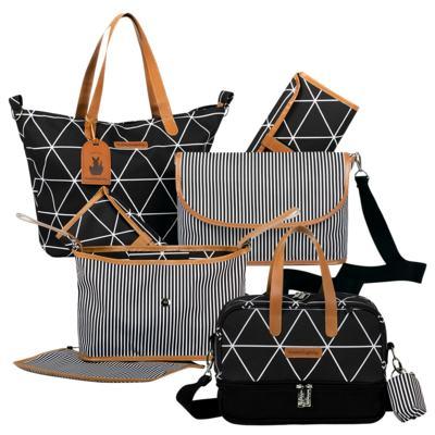 Imagem 1 do produto Bolsa 4 em 1 Sofia + Frasqueira térmica Vicky + Frasqueira Organizadora Manhattan Preto - Masterbag
