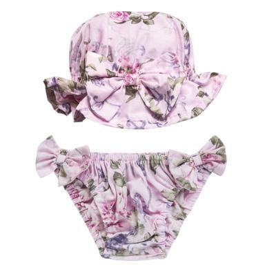 Imagem 1 do produto Conjunto de banho Floral: Bumbum + Chápeu - Roana - BAS00898046 BANHO DE SOL ROSA-M