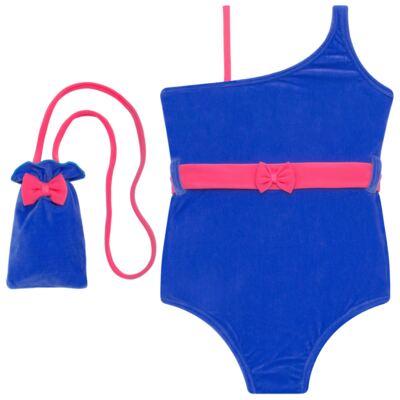 Imagem 1 do produto Maiô em Lycra aveludado Blue & Pink - Cara de Criança - M1274 VEL VET MAIO LYCRA-4