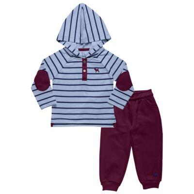 Imagem 1 do produto Blusão com Capuz e Calça para bebe em moletom Azure - Charpey - CY14902.501 CONJ BLUSA C/ CAPUZ E CALÇA INOCENSE-G