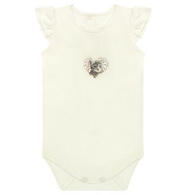 Imagem 1 do produto Body curto para bebe com frufru em viscolycra Cats & Rabbits  - Baby Classic - 121962 BODY C/MANGA BABADOS VISCOLYCRA PET PRINT 2-M