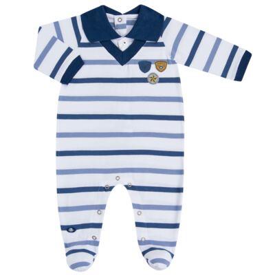 Imagem 1 do produto Macacão polo gola V para bebe em malha Flying Club - Baby Classic - 20280001.12 MACACAO M/L POLO C/ FALSA CAMISA -P