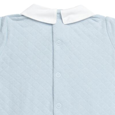 Imagem 3 do produto Macacão longo c/ golinha para bebe em viscomfort Bleu - Petit - 22104345 MACACAO C/ GOLA E PALA MATELASSE OVELHA MASC-RN