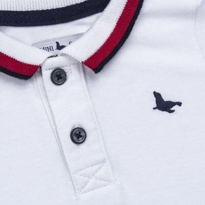 Imagem 2 do produto Macacão Polo para bebe em cotton touch Branco - Mini Sailor - 22184260 MACACAO M/C GOLA POLO E PUNHO SUEDINE BRANCO-3-6