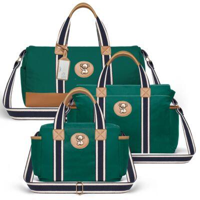 Imagem 1 do produto Bolsa Passeio para bebe + Bolsa Albany + Frasqueira Térmica Gold Coast em sarja Adventure Verde Oliva - Classic for Baby Bags