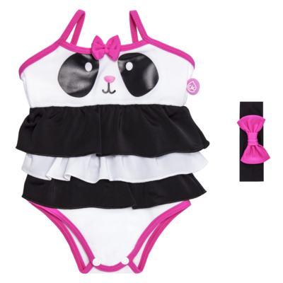 Imagem 1 do produto Maiô + Faixa de cabelo em lycra Panda - Cara de Criança - MB1885 PANDINHA MAIO BEBE LYCRA -M