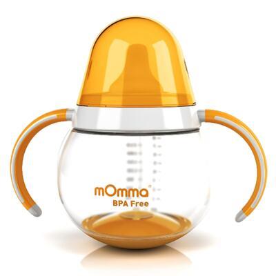 Imagem 2 do produto Copo de transição Antivazamento com alças Verde 250 ml + Prato Térmico + Colher para alimentação Laranja (6m+) - mOmma