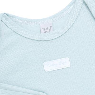 Imagem 3 do produto Body longo com Calça para bebe Sleep Comfort Azul - Vicky Lipe - 182200011.198 BODY M/L TRANS. MIJÃO SUEDINE HC AZUL-P