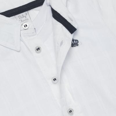 Imagem 2 do produto Body Camisa manga longa para bebe em tricoline Branco - Baby Classic - 03060001.09 BODY CAMISA M/L MASCULINO-TRICOLINE-M