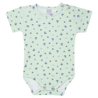 Imagem 1 do produto Body curto para bebe em algodão egípcio c/ jato de cerâmica e filtro solar fps 50  Little Boat - Mini & Kids - BSM1747 BODY MC SUEDINE NAVY-G