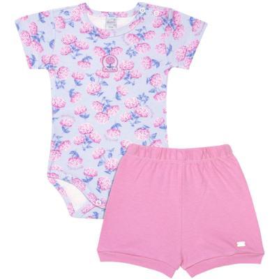 Imagem 1 do produto Body curto com Shorts em algodão egípcio c/ jato de cerâmica e filtro solar fps 50 L'Hortensia - Mini & Kids - CBS1746 CJ. BODY MC SHORTS SUEDINE HORTÊNCIAS-P