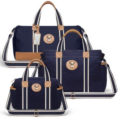 Imagem 1 do produto Bolsa Passeio para bebe + Bolsa Albany + Frasqueira Térmica Gold Coast Adventure em sarja Marinho - Classic for Baby Bags