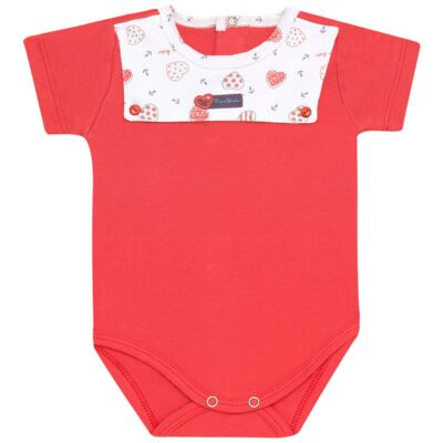 Imagem 1 do produto Body curto para bebe c/pala em Pima Cotton Supreme Sailor Girl - Mini & Kids - BCAF541 BODY MC COM ABER.FRONTAL SUEDINE-RN