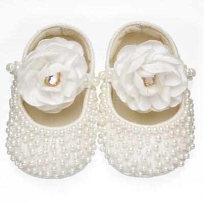 Imagem 1 do produto Sapatilha para bebe em cetim Pérolas & Flor Marfim - Roana - SPL00060031 Sapatilha Pérolas Flor Marfim-RN