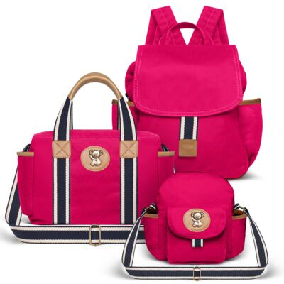 Imagem 1 do produto Bolsa Térmica para bebe + Mochila + Frasqueira Adventure em sarja Pink - Classic for Baby Bags