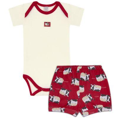 Imagem 1 do produto Body curto com Shorts para bebe em high comfort Vaquinha - Vicky Lipe - 18280001.38 CONJ.BODY C/SHORTS - SUEDINE-P